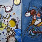 Space and Time Series Painting #1 and Painting #2 by helene ruiz