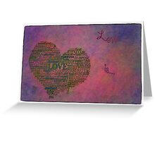 Love is poster with white frame Greeting Card