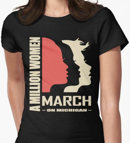 Women's March on Michigan Womens Fitted T-Shirt