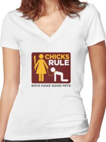 Women Power: Men are good pets Women's Fitted V-Neck T-Shirt
