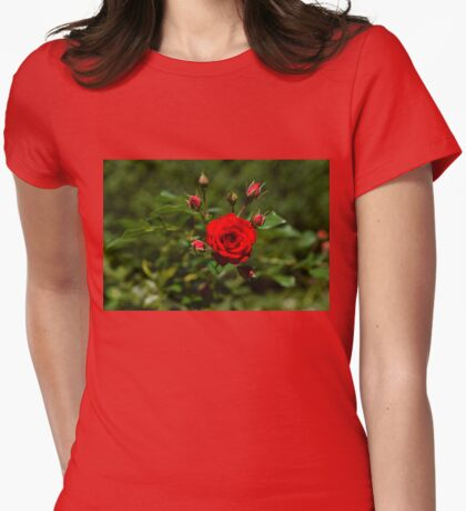 Fabulously Red Rose Burst Just in Time for Valentines Womens Fitted T-Shirt