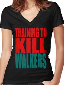 Training to KILL WALKERS Women's Fitted V-Neck T-Shirt