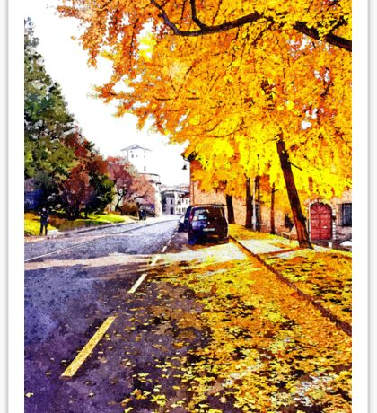 Road with autumn trees Sticker