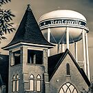 Midtown Neon on the Bentonville Arkansas Square - Sepia by Gregory Ballos