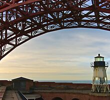 Fort Point Lighthouse Under Golden Gate Bridge by Scott Johnson