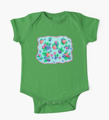 Barries with leaves on water. Colorful doodle.  One Piece - Short Sleeve
