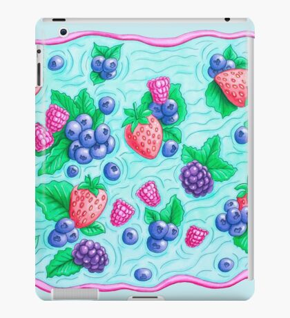 Barries with leaves on water. Colorful doodle.  iPad Case/Skin
