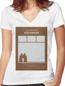 No238 My Rear window minimal movie poster Women's Fitted V-Neck T-Shirt