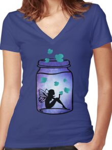 Magical Fairy Jar Women's Fitted V-Neck T-Shirt
