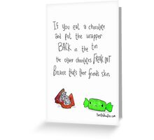 Don't put the wrappers back in the tin. Greeting Card