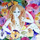LANDED IN A BED OF PANSIES 2 by Gea Jones