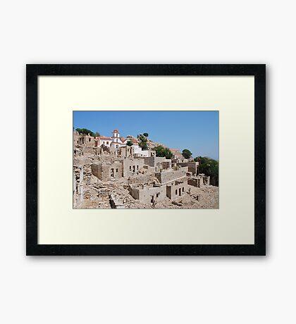 Mikro Chorio, Tilos island Framed Print