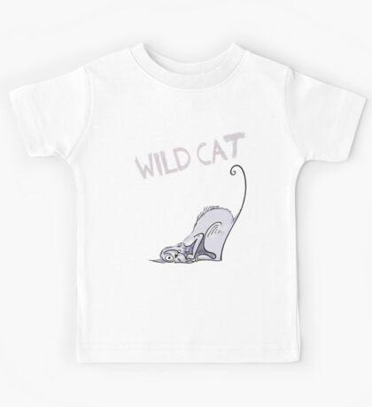 cat katze wild zeichnung cute niedlich funny humor spruch cat lovers Kids Tee