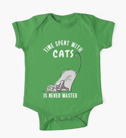 cat katze wild Cat time spent with my cat - Funny Kitty slogan TShirt One Piece - Short Sleeve