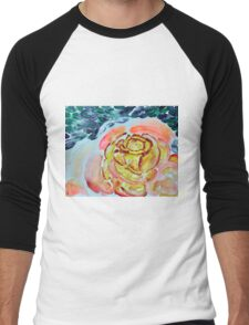 Yellow Greenery Rose Floral Men's Baseball ¾ T-Shirt