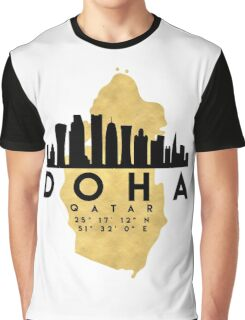 DOHA QATAR SILHOUETTE SKYLINE MAP ART  Graphic T-Shirt