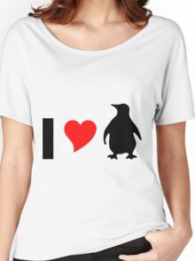 I Love Penguins- funny penguin shirt Women's Relaxed Fit T-Shirt