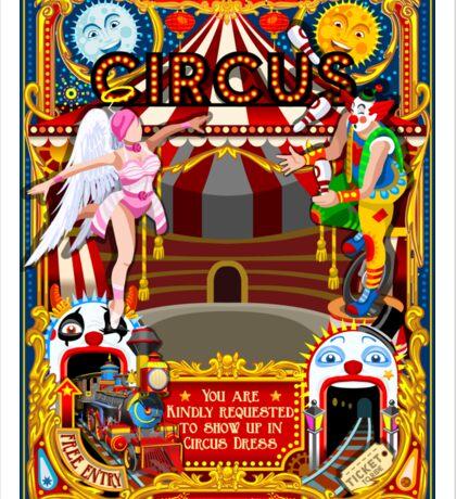 Carnival Circus Amusement Family Theme Park Illustration   Sticker