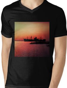 Ship at sunset, Ruver Tees. Mens V-Neck T-Shirt