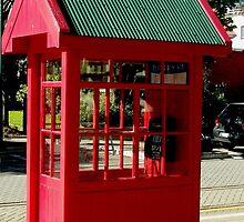 Red Telephone Box Christchurch  New Zealand by sandysartstudio