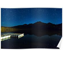 Starry Starry Night Over Pyramid Lake and Pyramid Mountain Poster
