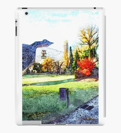 Garden autumn with bell tower and sculpture iPad Case/Skin