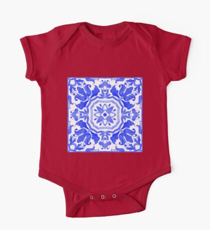 Portuguese azulejo tiles.  One Piece - Short Sleeve