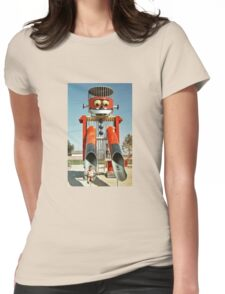 Robot slide, retro 1970's Womens Fitted T-Shirt