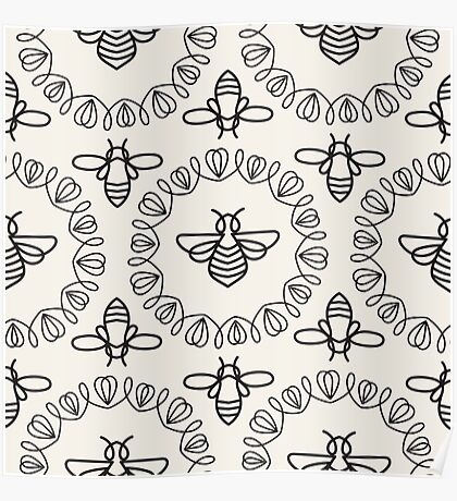 Seamless pattern with Bee Poster