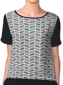 Floral stylized black pattern Chiffon Top
