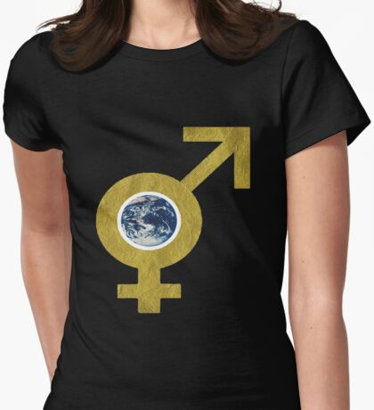 man and womans world Womens Fitted T-Shirt