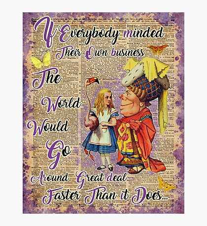 Alice with The Duchess Vintage Dictionary Art Photographic Print