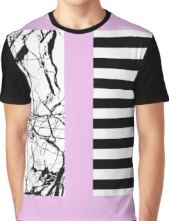 Stripes N Marble Pink Graphic T-Shirt