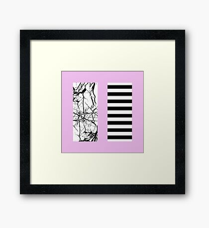 Stripes N Marble Pink Framed Print