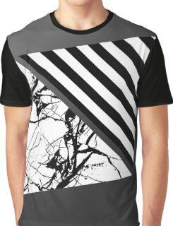 Stripes N Marble Metallic Grey Gray Graphic T-Shirt