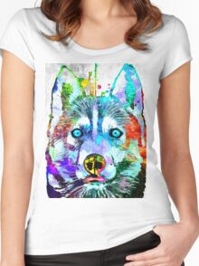 Siberian Husky Grunge Women's Fitted Scoop T-Shirt