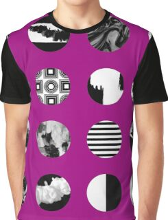 Textured Black and White on Purple Graphic T-Shirt