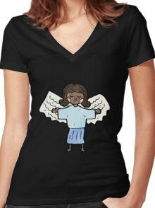 cartoon angel woman Women's Fitted V-Neck T-Shirt