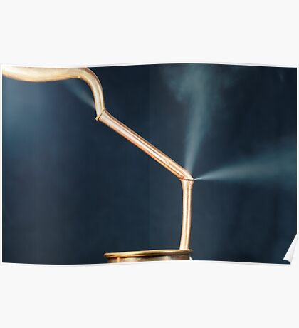 Copper pipes with a leak and steam. Poster