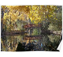 Bridge and Fall Colors Reflected on a Pond Poster