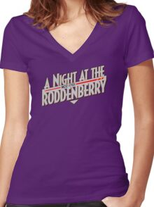 A Night At The Roddenberry Women's Fitted V-Neck T-Shirt