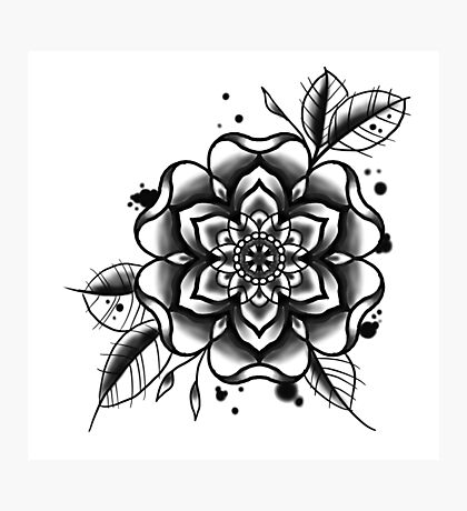 black and white tattoo flower Photographic Print
