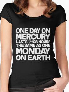One day on mercury lasts 1,408 hours The same as one Monday on Earth  Women's Fitted Scoop T-Shirt