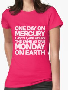 One day on mercury lasts 1,408 hours The same as one Monday on Earth  Womens Fitted T-Shirt