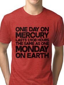 One day on mercury lasts 1,408 hours The same as one Monday on Earth Tri-blend T-Shirt