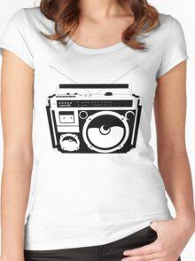 1980s Boombox in da hood Women's Fitted Scoop T-Shirt