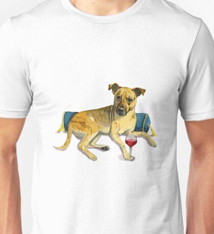 Sassy Dog Enjoying Wine Watercolor Painting Unisex T-Shirt