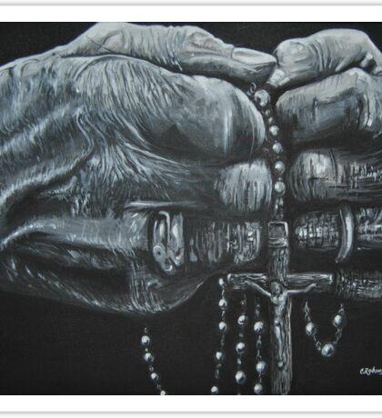 Old Hands Rosary Catholic Sticker
