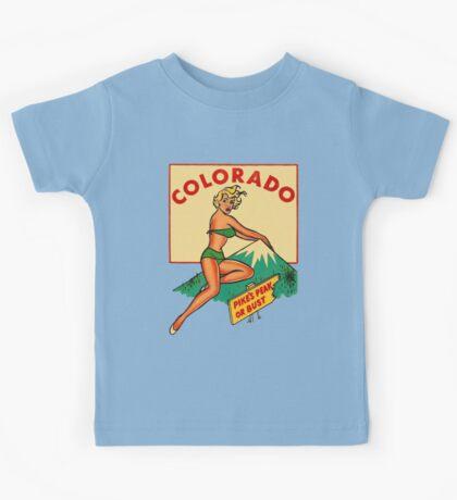 Colorado Pinup Pikes Peak Vintage Travel Decal Kids Tee