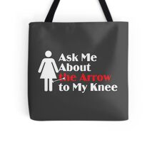 Skyrim - Ask Me About the Arrow (female) on dark Tote Bag